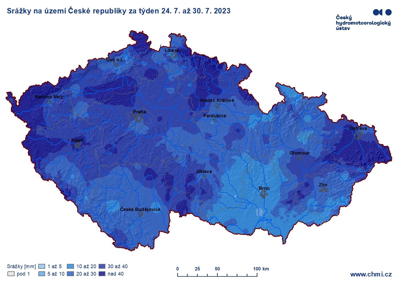 Spadlé srážky za týden - ČR