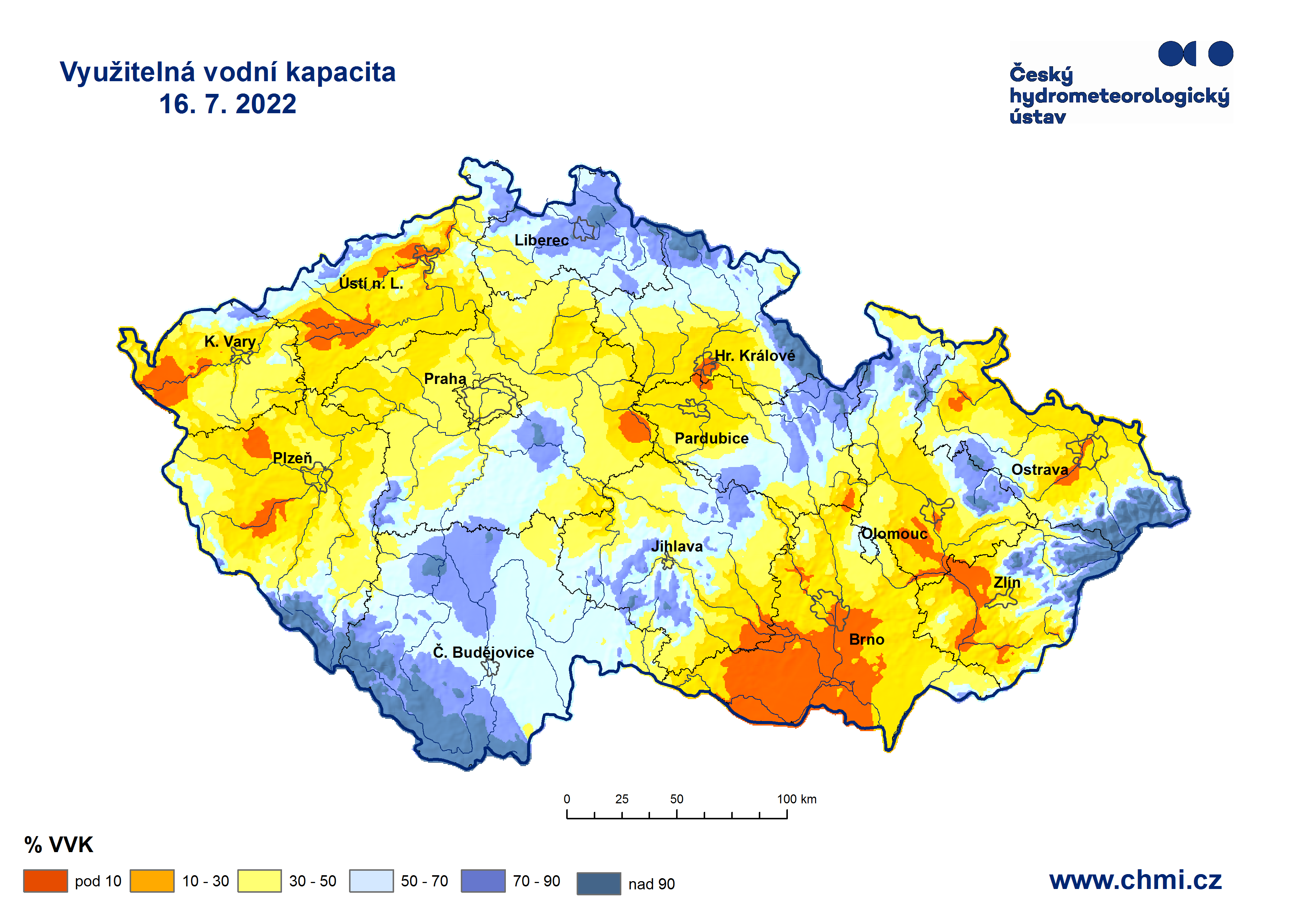 Hydrologická situace: Využitelná vodní kapacita v půdě do hloubky 20cm.