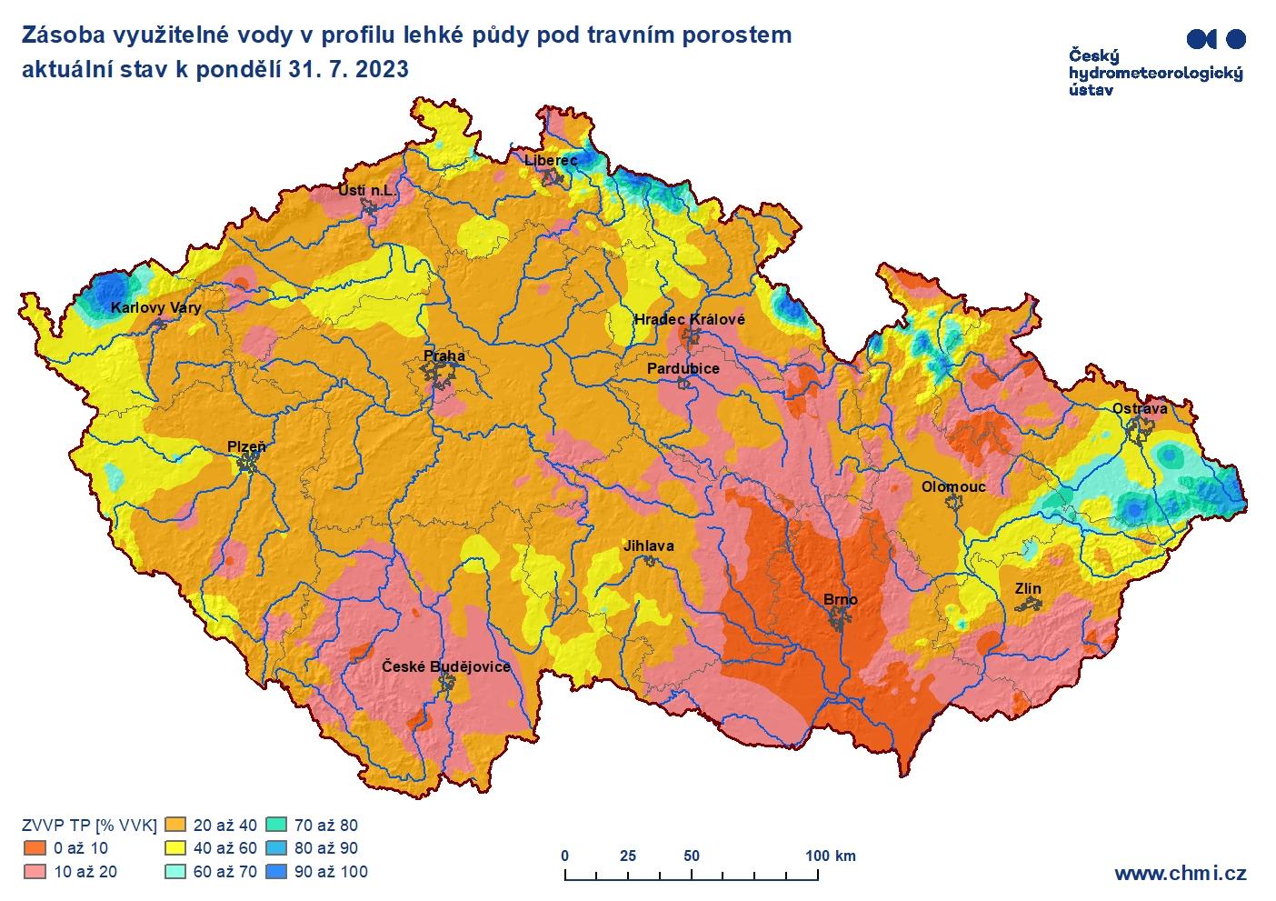 Hydrologická situace: Využitelná voda v profilu lehké půdy.
