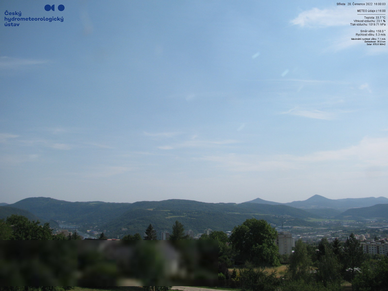 Aktuální výhled z ČHMÚ Kočkov jižním směrem