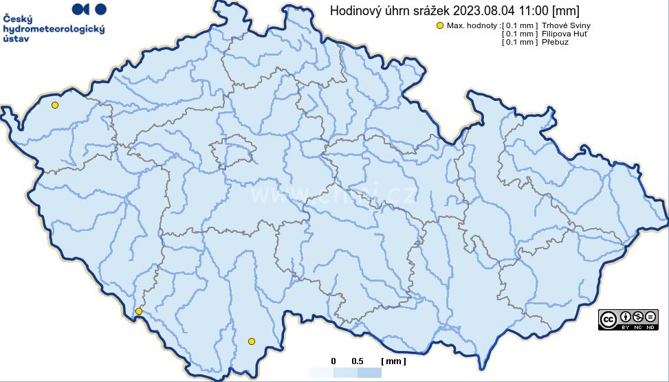 Spadlé srážky za hodinu - ČR