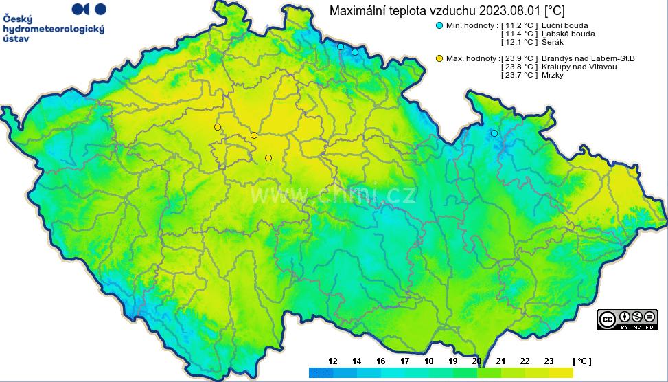 Maxima teploty v ČR za den
