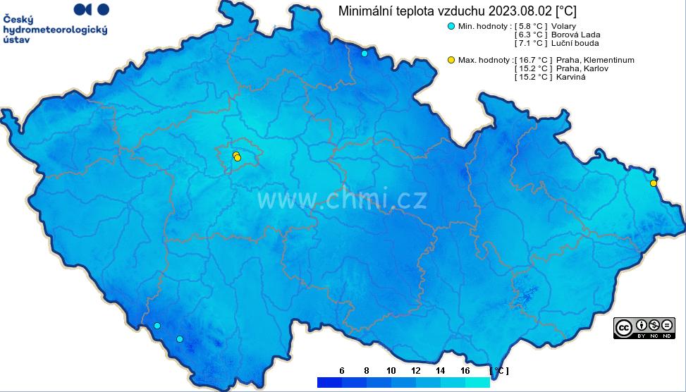 minima teploty v ČR za den