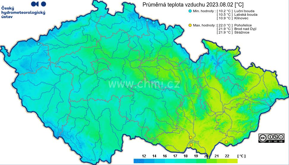 Průměr teploty v ČR za den