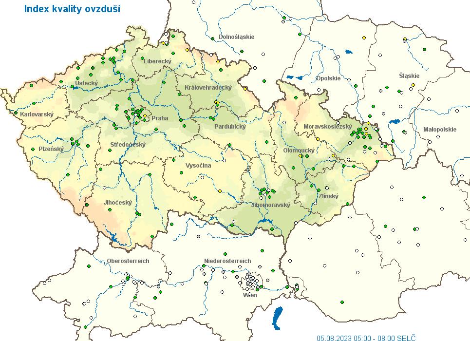 kvalita ovzduší - mapa